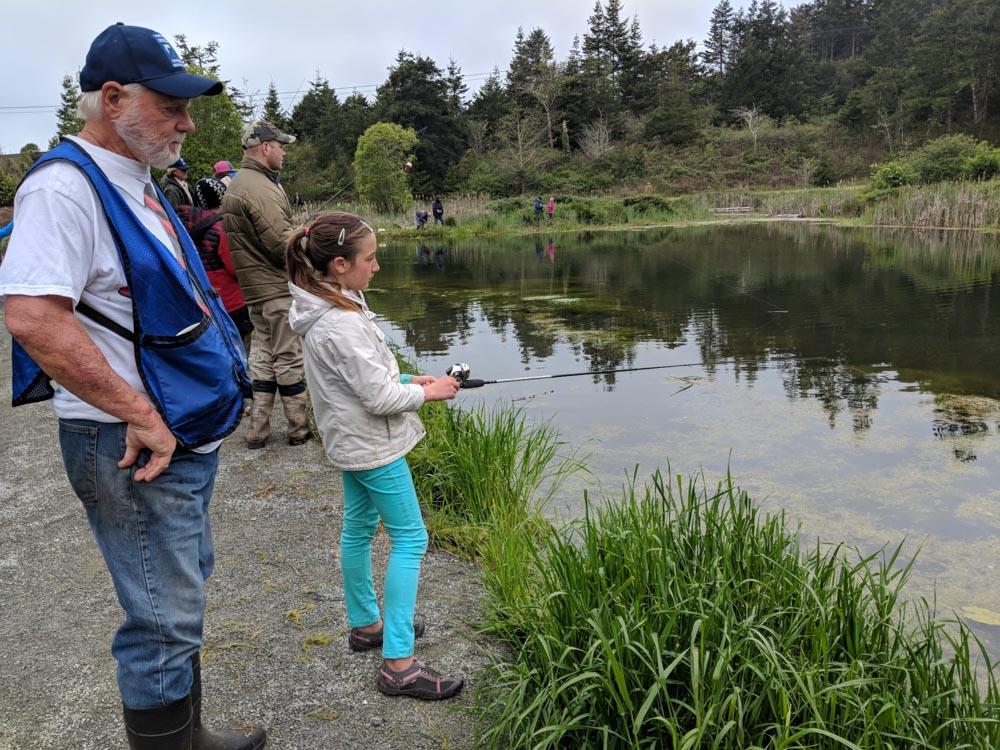 Fishing alongside children